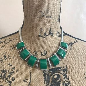 New York & Co Green and Silver Choker Necklace